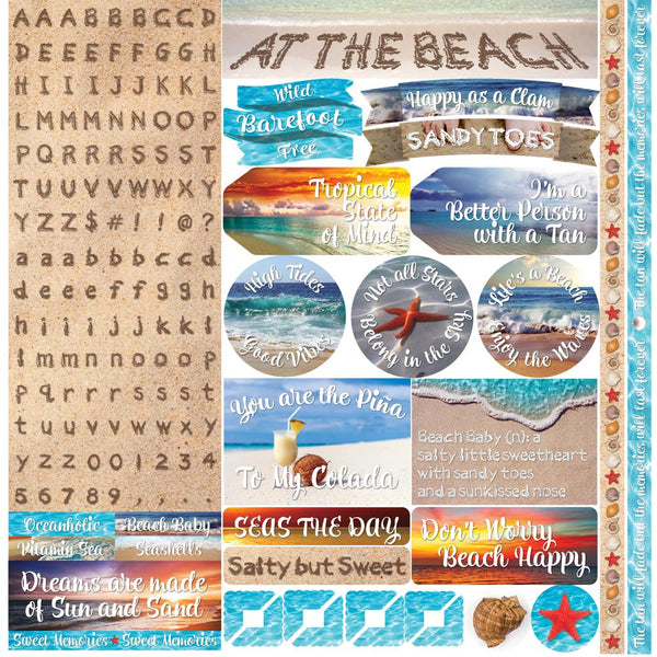 "At The Beach Alpha Stickers 12""X12"" - Scrapbooking Fairies"