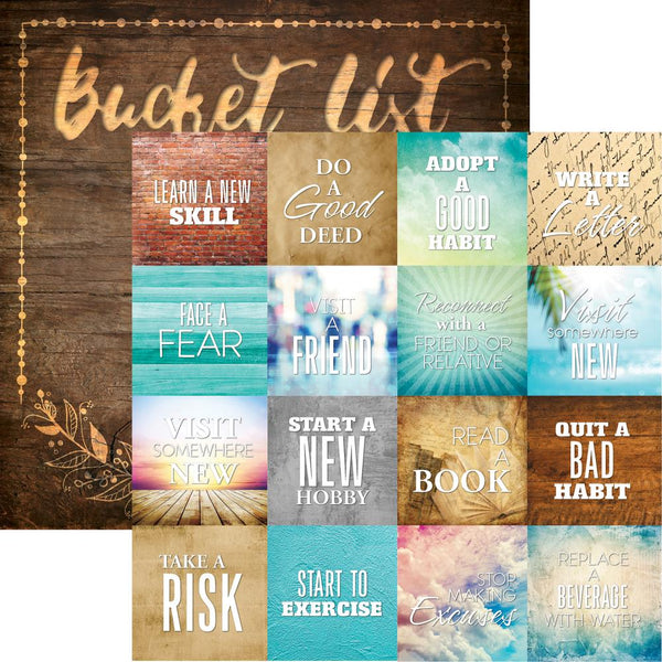 "Bucket List Double-Sided Cardstock 12""X12"", Seize The Day - Scrapbooking Fairies"
