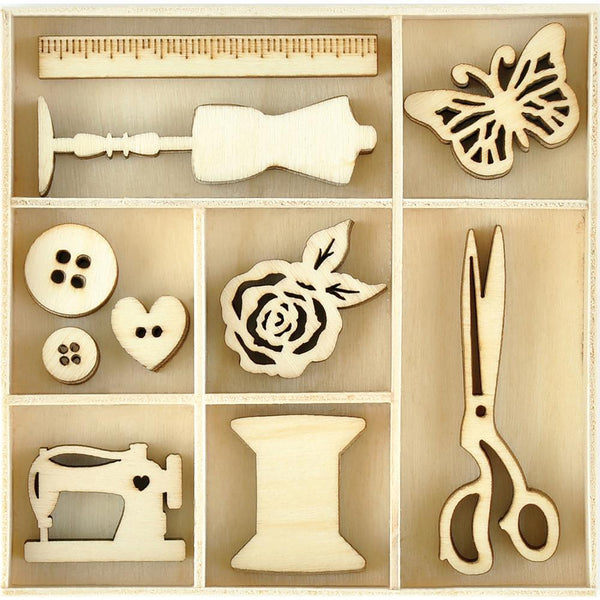 Kaisercraft, Themed Mini Wooden Flourishes 35/Pkg, Treasures