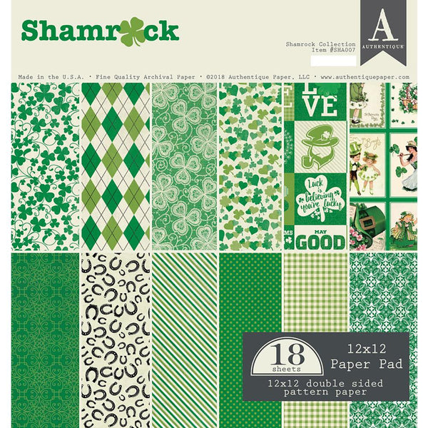 "Authentique Double-Sided Cardstock Pad 12""X12"" 18/Pkg, Shamrock - Scrapbooking Fairies"