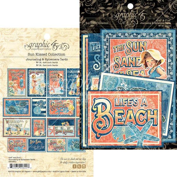 "Graphic 45, Sun Kissed Ephemera Cards, (16) 4""X6"" & (16) 3""X4 - Scrapbooking Fairies"