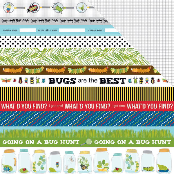 "Bug Explorer Double-Sided Cardstock 12""X12"", Borders - Scrapbooking Fairies"