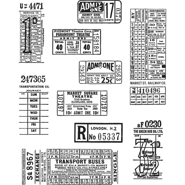 "Stampers Anonymous, Tim Holtz Cling Stamps 7""X8.5"", Ticket Booth"