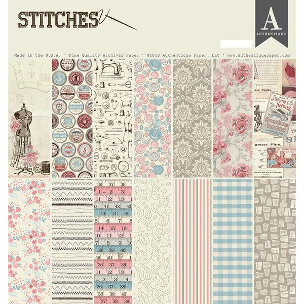 "Authentique Collection Kit 12""X12"", Stitches"