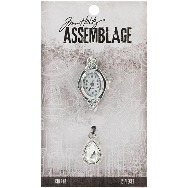 Tim Holtz Assemblage Charms 2/Pkg, Watch Face & Droplet
