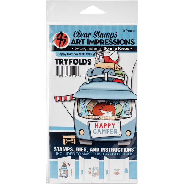 Art Impressions Mini TryFolds Clear Stamp & Die Set, Happy Camper