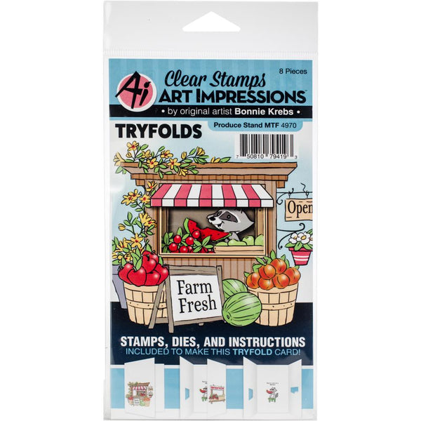 Art Impressions Mini TryFolds Stamp & Die Set, Produce Stand
