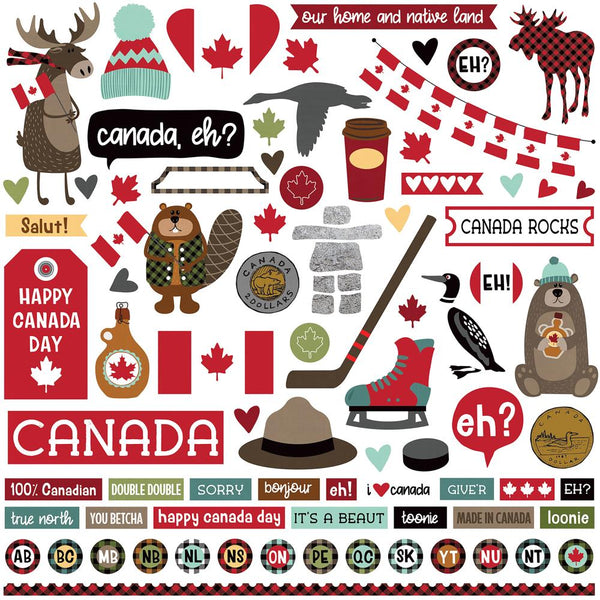 "PhotoPlay, O Canada Stickers 12""X12"", Element"