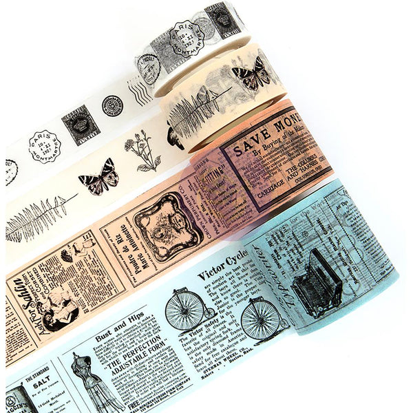 Prima Traveler's Journal Vintage Decorative Tape 4/Pkg, Vintage 15mm To 40mm, 10yds Each
