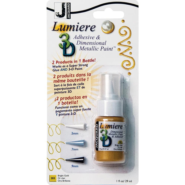 Jacquard, Lumiere 3D Adhesive & Dimensional Metallic Paint with Tips, 1oz, Bright Gold