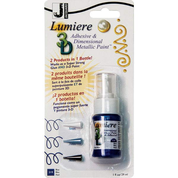 Jacquard, Lumiere 3D Adhesive & Dimensional Metallic Paint with Tips, 1oz, Blue