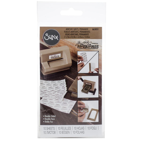 "Sizzix Adhesive Sheets - 2 1/2"" x 4 3/4"", Permanent, 10 Sheets (Tim Holtz Alterations Edition)"