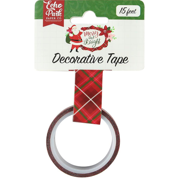 Echo Park, Merry & Bright Decorative Tape 15', Merry Plaid