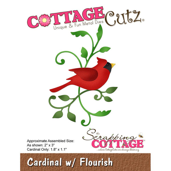 "CottageCutz Die, Cardinal W/Flourish 1.1"" To 3"""