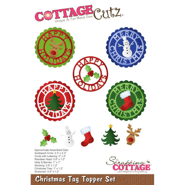 "CottageCutz Die, Christmas Tag Topper Set .8"" To 2.3"""