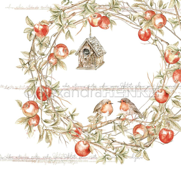 "Alexandra Renke Colors Of Autumn Design Paper 12""X12"", Robins In Apple Wreath"
