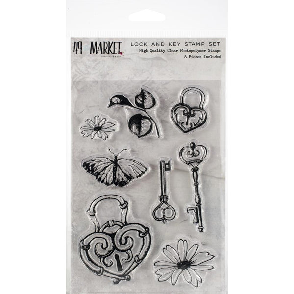 49 and Market, Sweet Reflections Stamp Set, Lock & Key