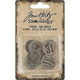 Advantus - Tim Holtz, Idea-Ology Metal Typed Tokens 18/Pkg, Antique Nickel Halloween Words .75""