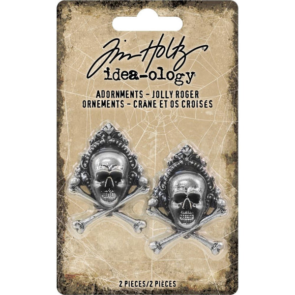 "Advantus - Tim Holtz, Idea-Ology Metal Adornments 1""X1.5"" 2/Pkg, Antique Nickel Jolly Roger"