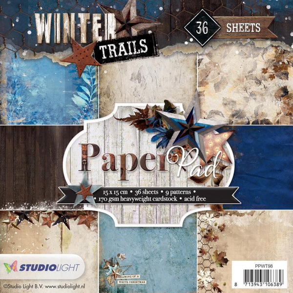 "Studio Light Paper Pad 6""X6"" 36/Pkg, Winter Trails, 9 Designs/4 Each"