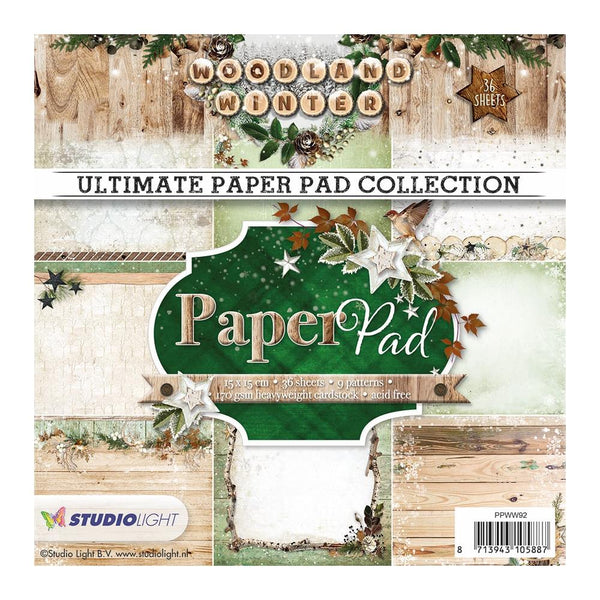 "Studio Light Paper Pad 6""X6"" 36/Pkg, Woodland Winter, 9 Designs/4 Each"