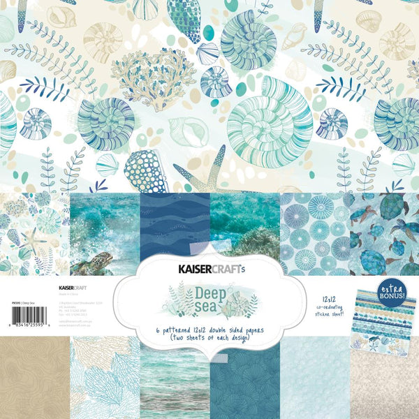 "Kaisercraft Paper Pack 12""X12"" 12/Pkg, Deep Sea"