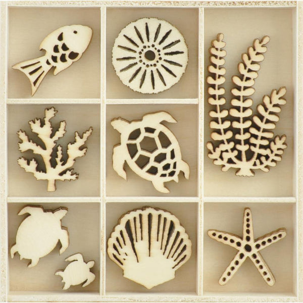 Kaisercraft Themed Mini Wooden Flourishes 45/Pkg, Underwater