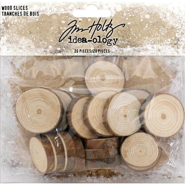 "Tim Holtz Idea-Ology Wood Slices 20/Pkg, Natural Raw Edge 1"" To 1.25"""