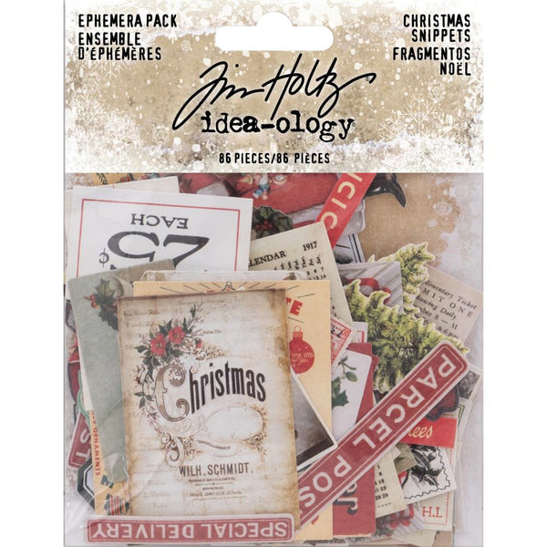 Tim Holtz Idea-Ology Ephemera Pack 86/Pkg, Snippets Tiny Die-Cuts/Christmas