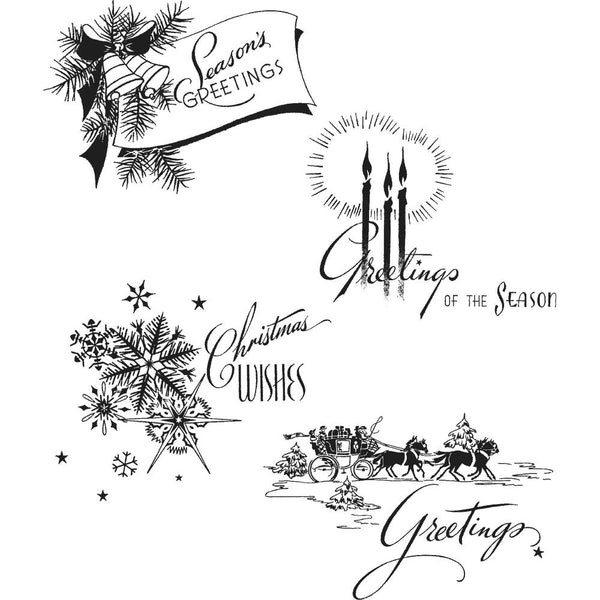 "Ranger, Tim Holtz Cling Stamps 7""X8.5"", Holiday Greetings"