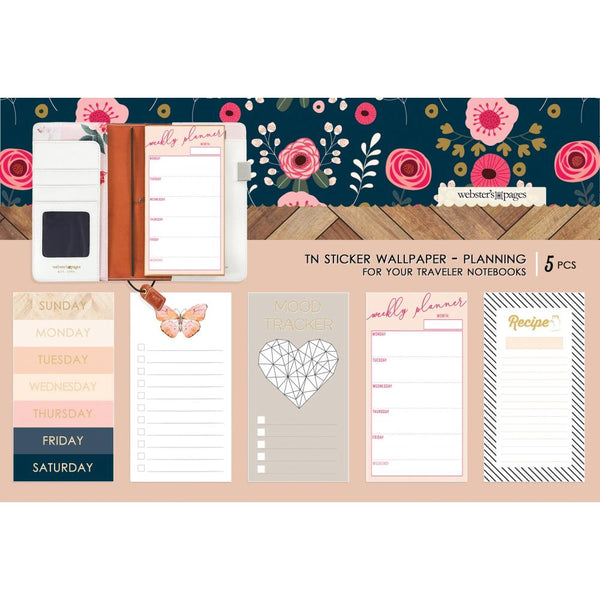 Color Crush Travel Notebook Sticker Wallpaper 5/Pkg, Love Planning