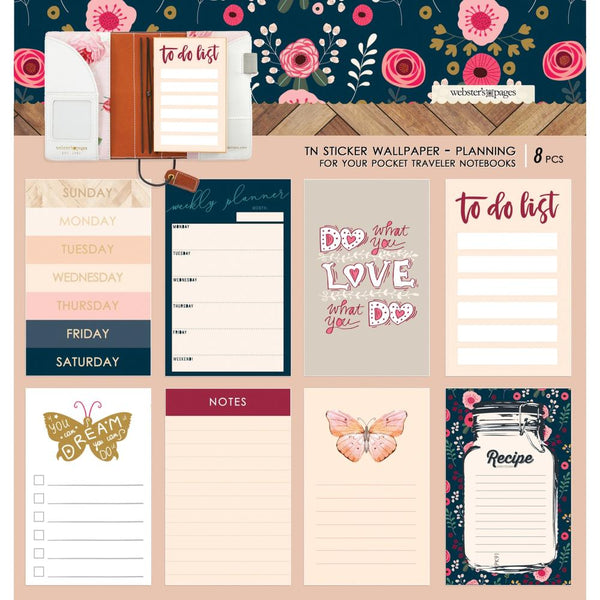 Color Crush Travel Notebook Sticker Wallpaper 8/Pkg, Love Planning