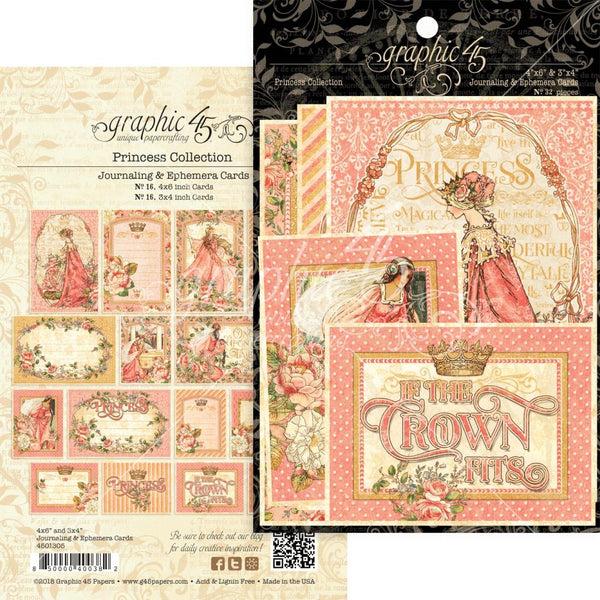 "Graphic 45, Princess Ephemera Cards, (16) 4""X6"" & (16) 3""X4"""