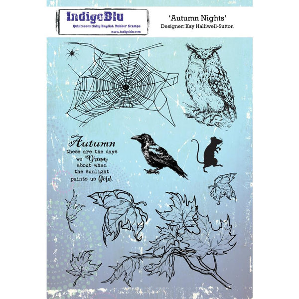 "IndigoBlu Cling Mounted Stamp 9""X6.5"", Autumn Nights"