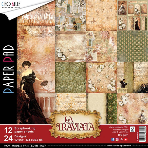 "Ciao Bella, La Traviata Double-Sided Paper Pack 90lb 12""X12"" 12/Pkg"