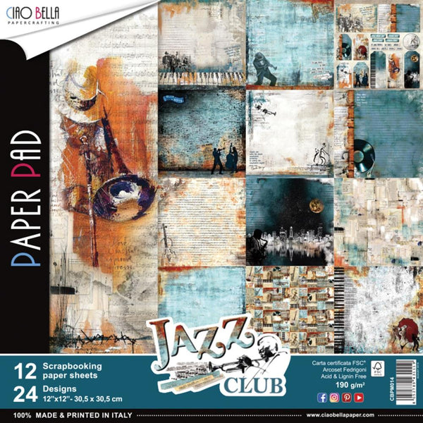 "Ciao Bella, Jazz Club Double-Sided Paper Pack 90lb 12""X12"" 12/Pkg"