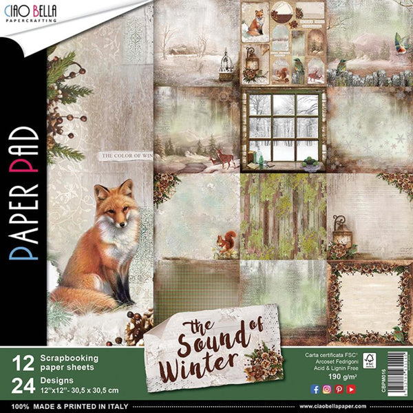 "Ciao Bella, Sound Of Winter Double-Sided Paper Pack 90lb 12""X12"" 12/Pkg"