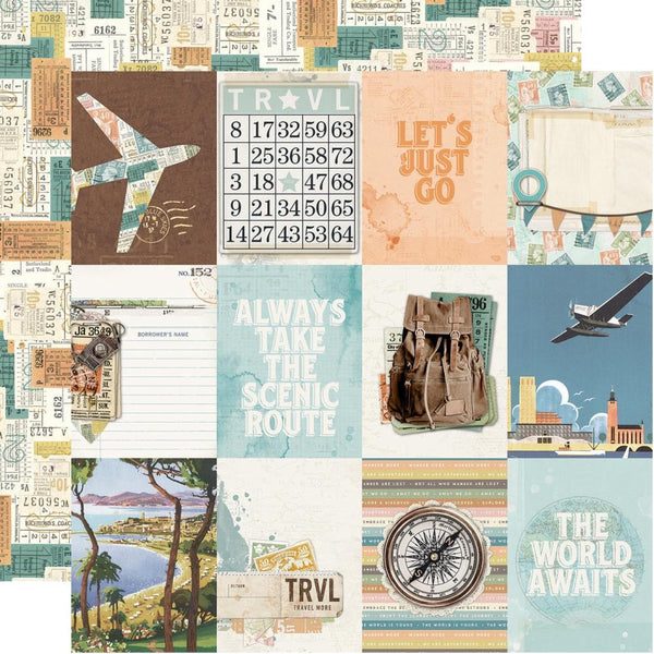 "Simple Vintage Traveler Double-Sided Cardstock 12""X12"", 3x4 Elements"