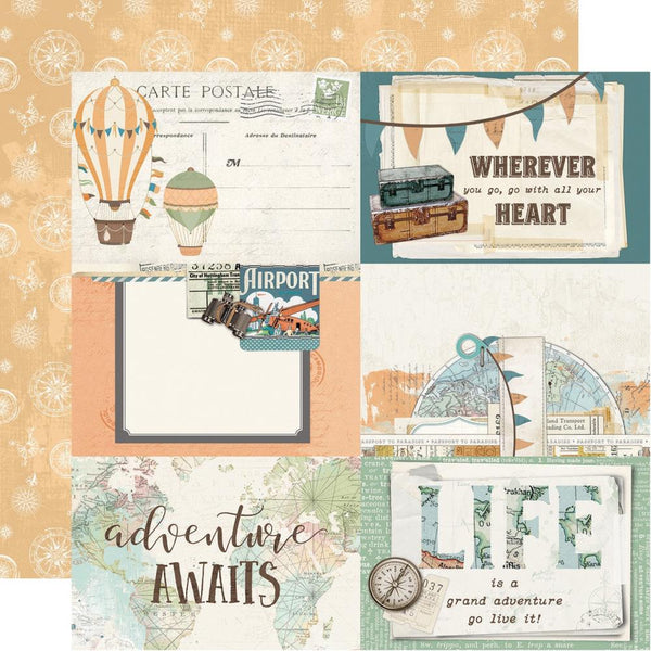 "Simple Vintage Traveler Double-Sided Cardstock 12""X12"", 4x6 Elements"