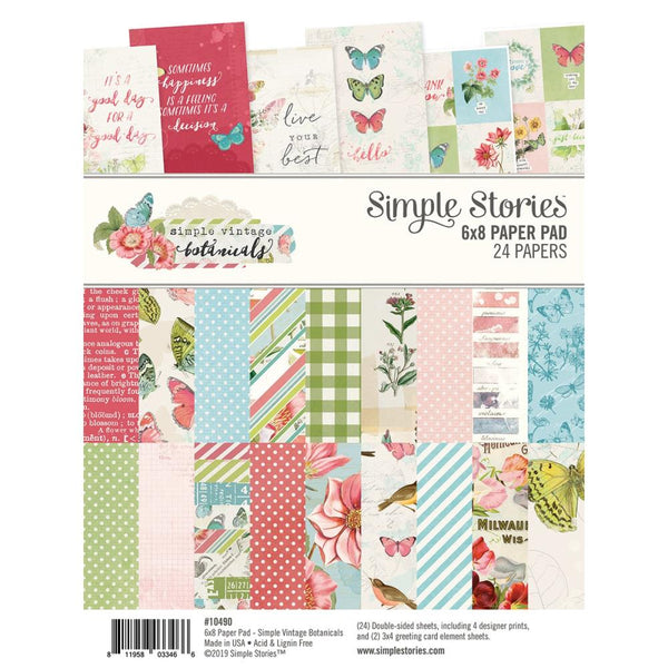 "Simple Stories,  Double-Sided Paper Pad 6""X8"" 24/Pkg, Simple Vintage Botanicals, 8 Designs"