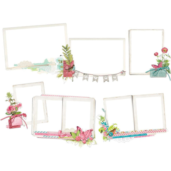 Simple Stories, Simple Vintage Botanicals Layered Frames Die-Cuts 6/Pkg