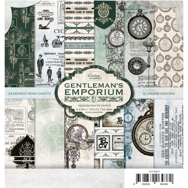 "Couture Creations Double-Sided Paper Pad 6""X6"" 24/Pkg, Gentlemans Emporium, 12 Designs/2 Each"