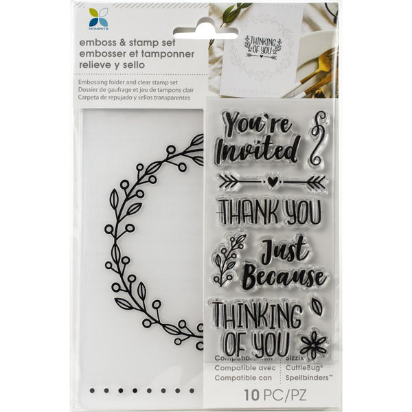 Momenta Embossing Folder & Stamp Set, You Are Invited