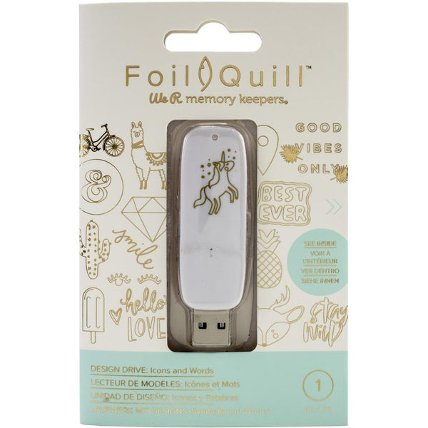 American Crafts, We R Memory Keepers, Foil Quill USB Artwork Drive, Icons & Words