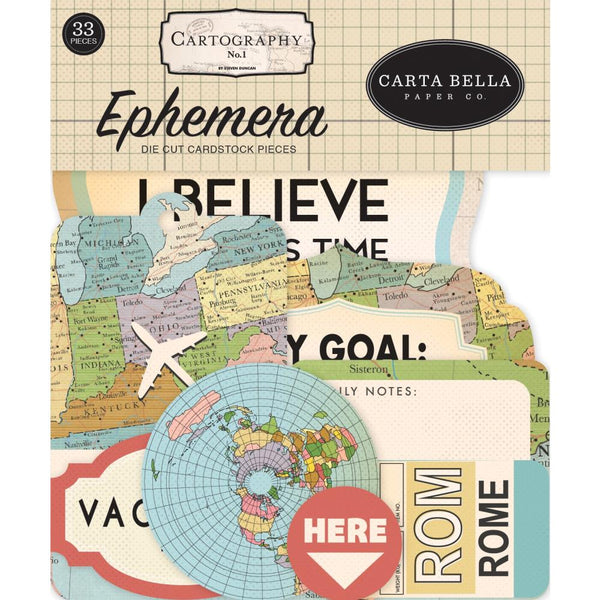 Carta Bella Cardstock Ephemera 33/Pkg, Icons, Cartography No. 1