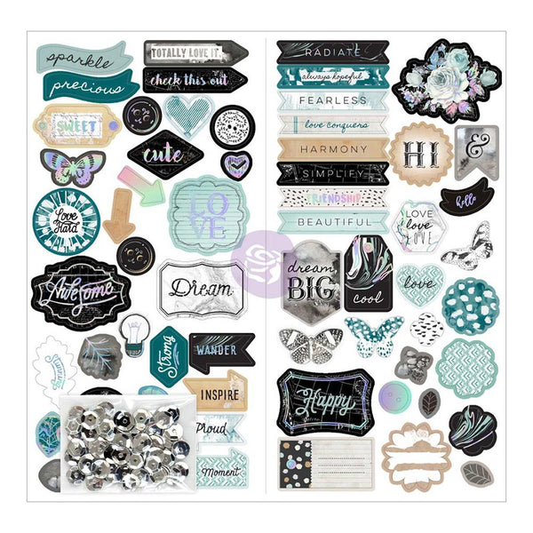 Zella Teal Self-Adhesive Chipboard, W/Sequins