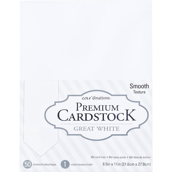 "Core'dinations Value Pack Smooth Cardstock 8.5""X11"", 50/Pkg, 65#"