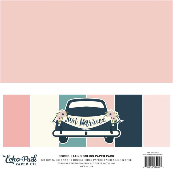 "Echo Park Double-Sided Solid Cardstock 12""X12"" 6/Pkg, Just Married"