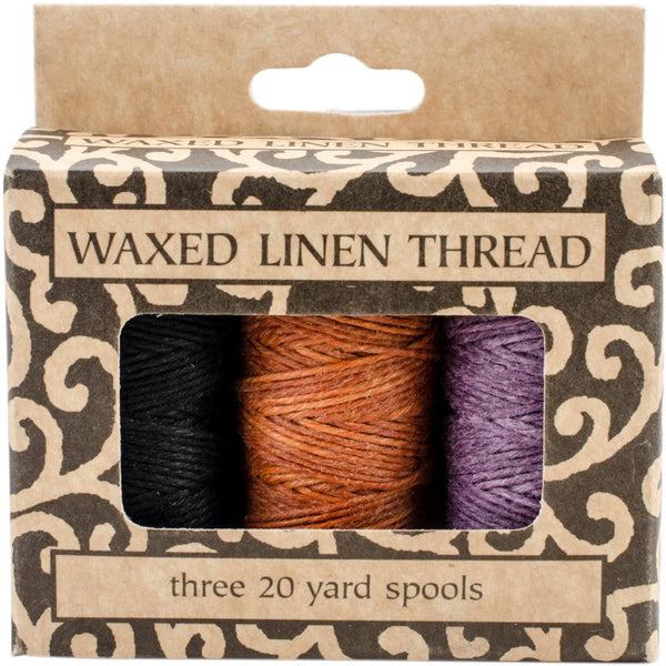 Lineco Waxed Linen 5 Ply Thread 3/Pkg, Lavender, Orange-Gold, Black; 20yd Each