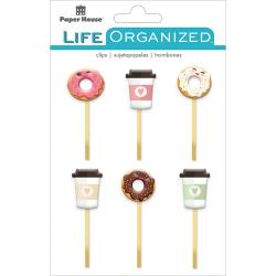 Paper House, Life Organized Epoxy Clips 6/Pkg, Coffee & Donuts